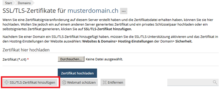 SSL Zertifikat installieren | METANET - Web. Mail. Server.
